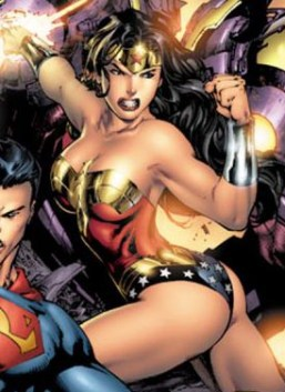 "Wonder Woman strikes a classic ""boobs and butt"" pose."