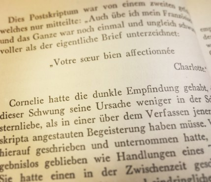 "This is the very first time I have ever come across the French version of my name Cornelia. ""Cornelie"" sounds so weird to my ears. Mind you, this is from Ina Seidel's Das Wunschkind, published in 1930, and judging by the French sentence above it looks like Charlotte and Cornelie might be French sisters. I just found the name flipping through the book, I have not read it yet, though I will if only to find out what Cornelie is like. #oldbooks #mynameinabook #cornelia #cornelie #finallyacharacterwithmyname ©theliteratigirl"