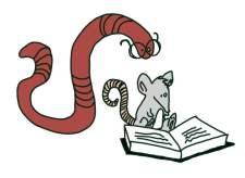 Zeichnung: Leseratte & Bücherwurm