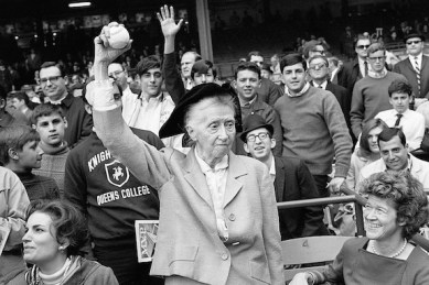 10 Apr 1968 --- Poet Marianne Moore Tosses First Ball --- Image by © Bettmann/CORBIS