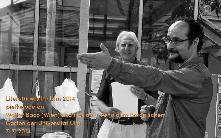 """Walter Baco und Florian L. Arnold als """"Piefke-Poeten"""" am 7. 7. 2014"""