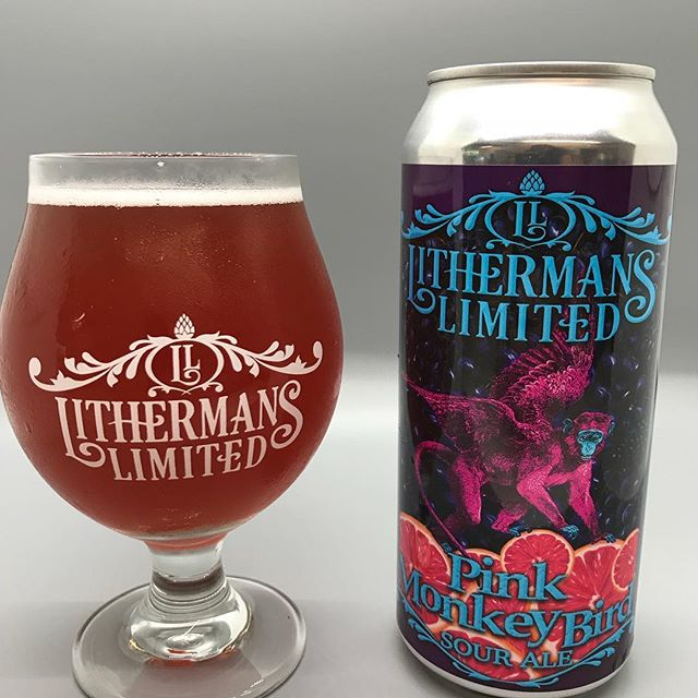 Pink Monkey Bird – Sour Ale fermented with Pink Grapefruit and Concord Grapes. Cans on sale at the brewery starting today! #lithermanslimited #sourbeer