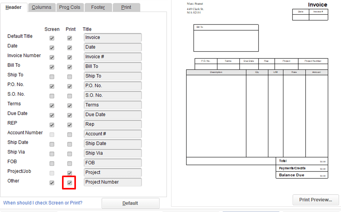 When I print my invoices the invoice number does not show