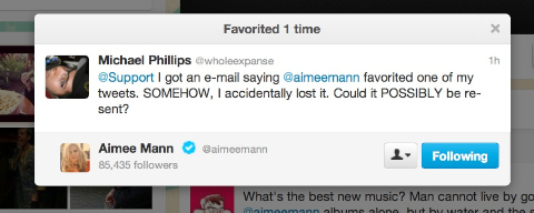 Favorited by @aimeemann, again!