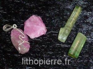 Tourmaline verte et rose