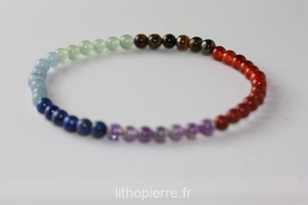 Bracelet 7 chacras en perle de 4mm