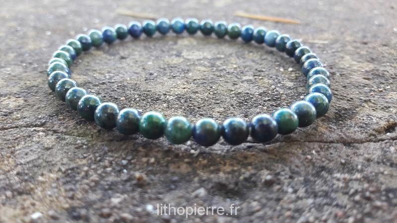 bracelet 4 mm azurite malachite