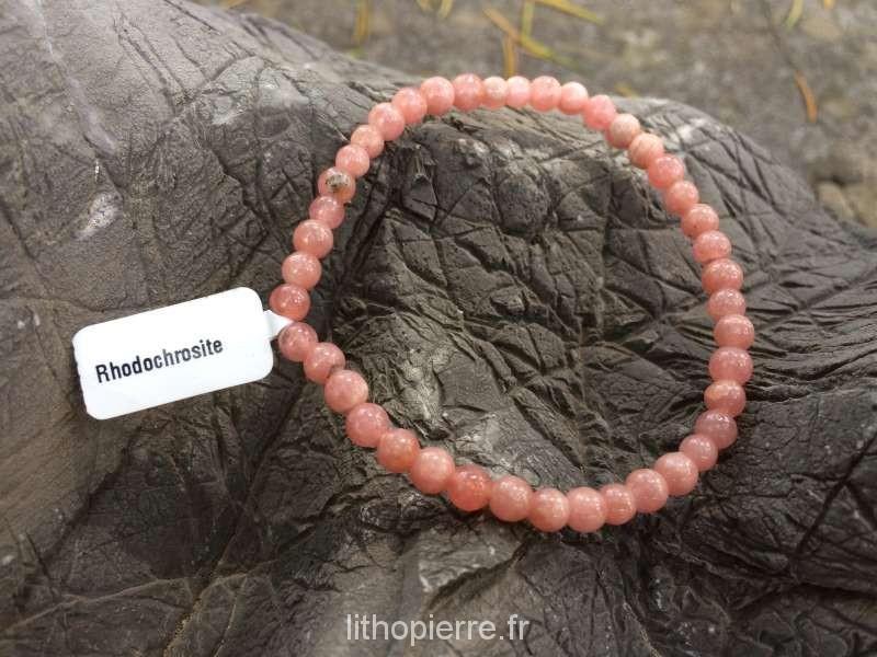 Bracelet en pierre rare en 3 mm en rhodocrosite