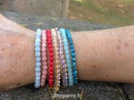 Bracelets 4mm pierres rares