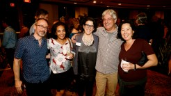 Dalia Azim, Laurie Muchnick, David Ulin, Miwa Messer and friend (on left)