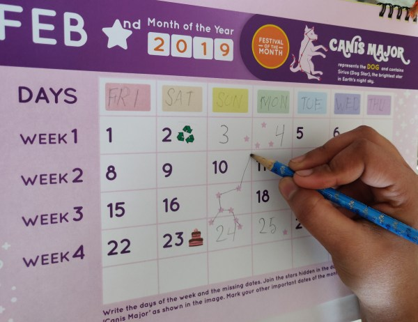 Kids Activity Calendar about Stars, Constellations, Nature, Weather, Air Quality