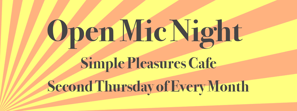 flier for Simple Pleasures open mic night