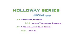 flier for Holloway Spring 2020