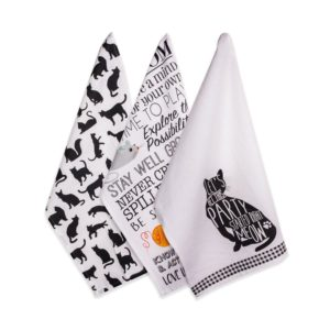 kitchen dish towels tile for countertops cat lover cotton towel set of 3 over sized