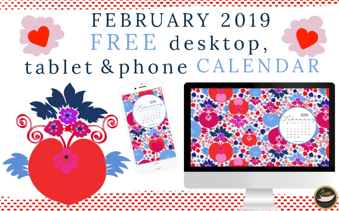 February 2019 Free desktop, tablet and phone calendar