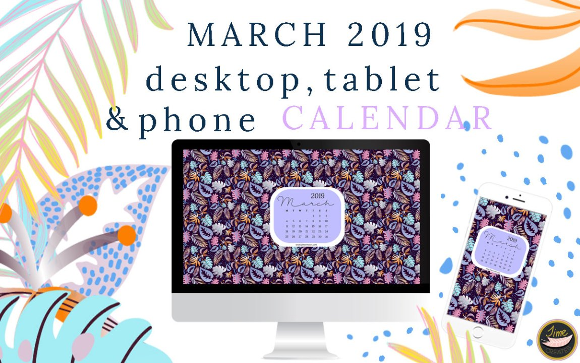 March 2019 Calendar for desktop, tablet and phone