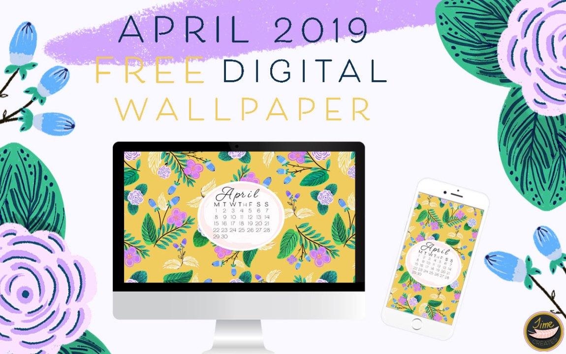 April 2019 free digital pattern floral wallpaper