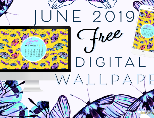 June 2019 free floral watercolor wallpaper by LittlCrow