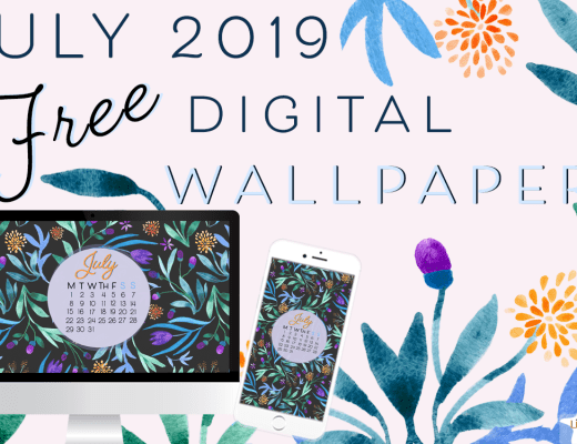 July 2019 free floral watercolor wallpaper by LittlCrow