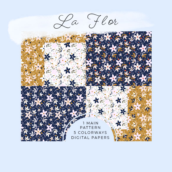 La Flor Digital paper set by Jimena Garcia (Littlcrow)
