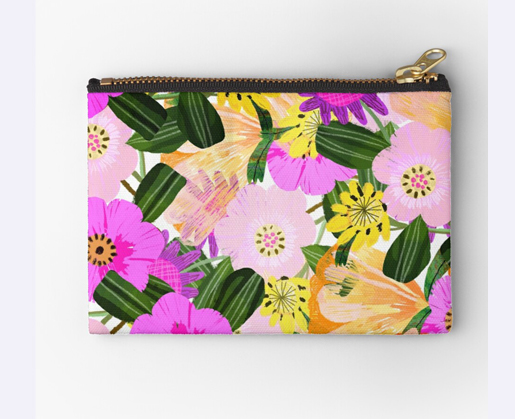 Red Bubble Zipper Pouch with colourful, bright and happy florals designed by LittlCrow (Jimena Garcia)