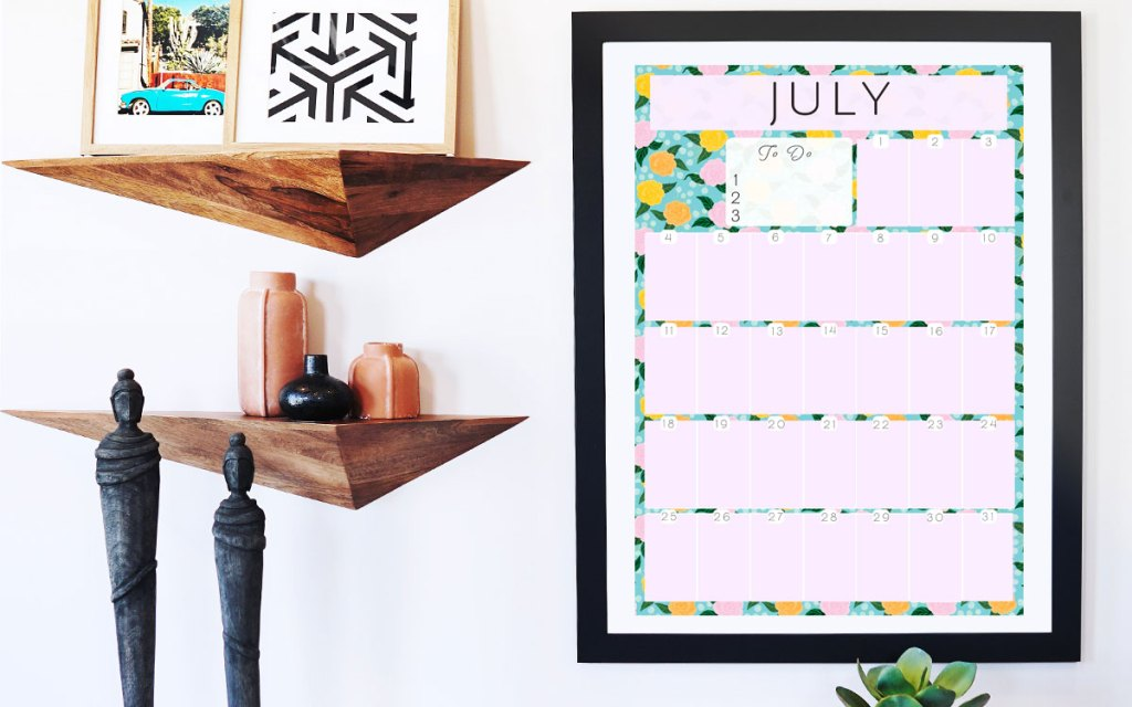 Monthly planner pastel colourful flowers wallpaper calendar by Jimena Garcia (LittlCrow)
