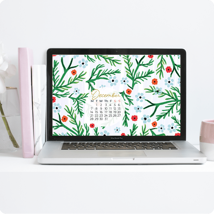 Desktop wallpaper for December with painted watercolour Christmas elements calendar by Jimena Garcia (LittlCrow)