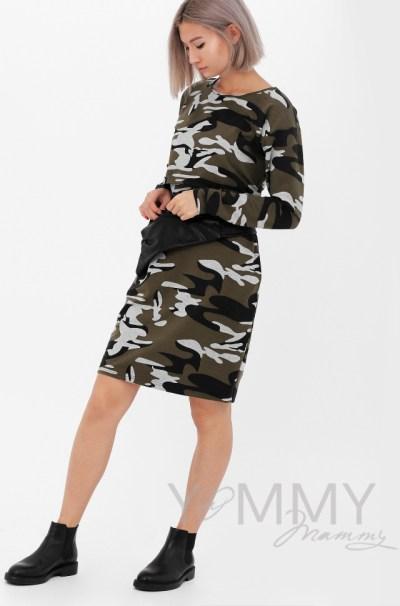 Платье с длинным рукавом с карманами камуфляж
