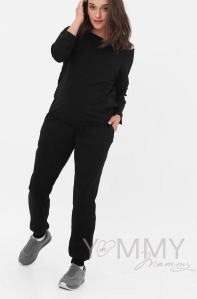 Универсальные брюки с начесом черные