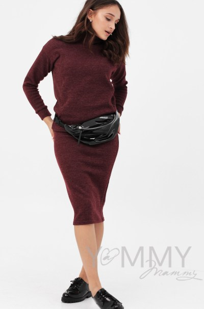 Костюм из плотного вязанного трикотажа джемпер + юбка бургунди