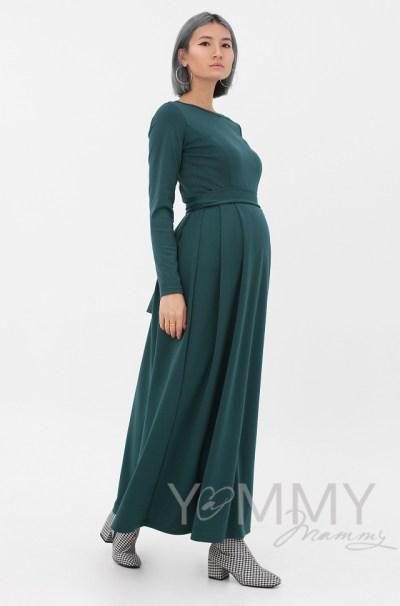 Платье в пол, с секретом на молниях, юбка со складками изумрудное