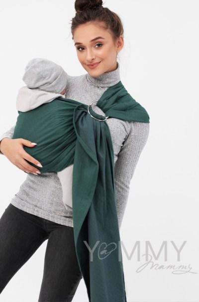 Слинг с кольцами из шарфовой ткани изумрудный/темно-серый