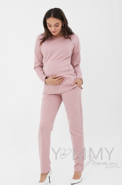 Костюм из плотной вискозы пудрово-розовый джемпер + брюки