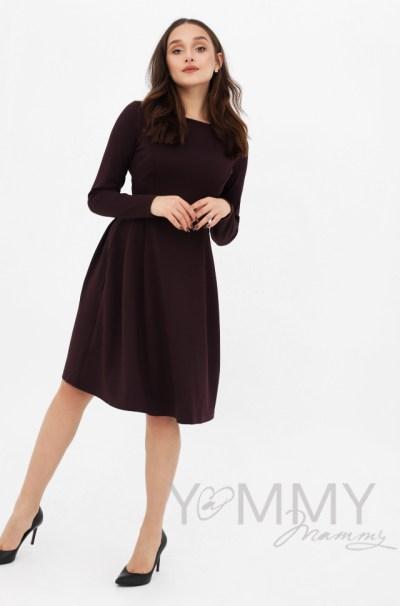 Платье с секретом на молниях, юбка со складками бургунди