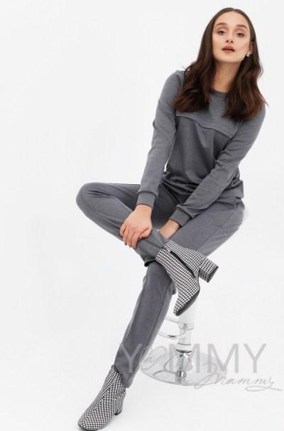 Костюм из плотной вискозы серый меланж: джемпер+брюки