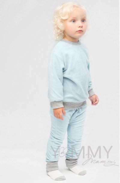 Костюм детский из флиса светло-голубой: слингоштанишки + толстовка