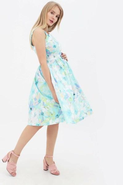 Платье-сарафан ментоловый с цветочным принтом