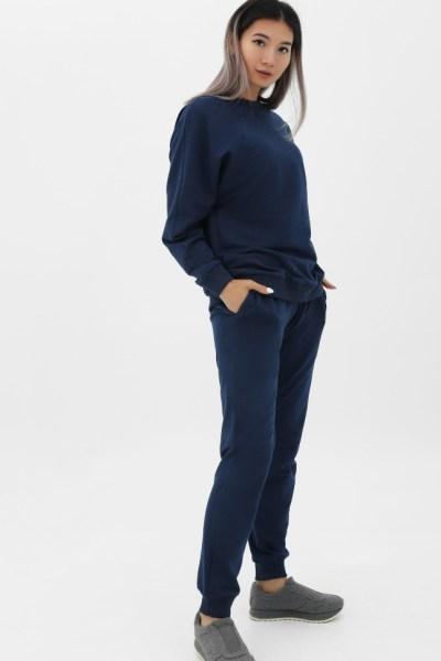 Костюм из футера темно-синий меланж джемпер + брюки