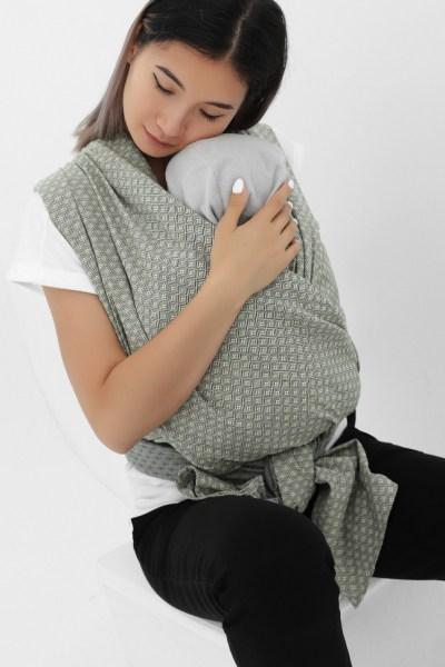 Слинг-шарф из шарфовой ткани лен/темно-серый