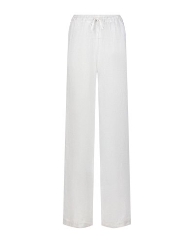 Белые брюки свободного кроя на кулиске 120% Lino