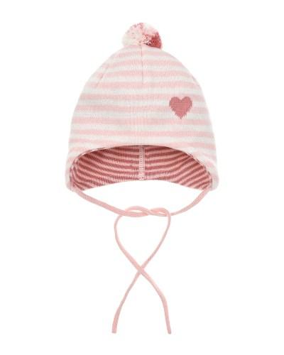 Розовая шапка с отделкой в полоску MaxiMo детская