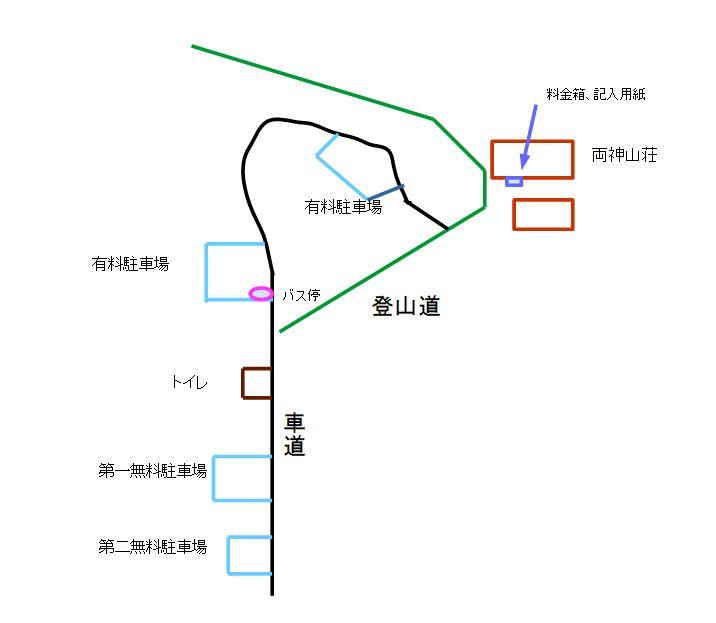 日向大谷登山口駐車場等概略図