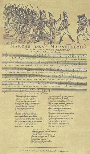 """Нотный стан и слова французской """"Марсельезы"""""""