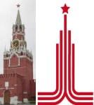 Спасская башня Кремля и олимпийская эмблема