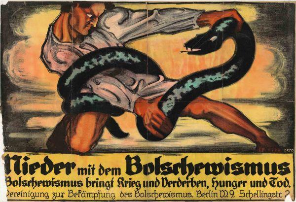 Nem_Plakat_Otto Kurzell_Nieder mit dem Bolsrhewismus_1920