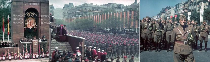 Парад победителей в Мадриде запечатлел в цвете один из придворных фотографов Гитлера Хуго Йегер