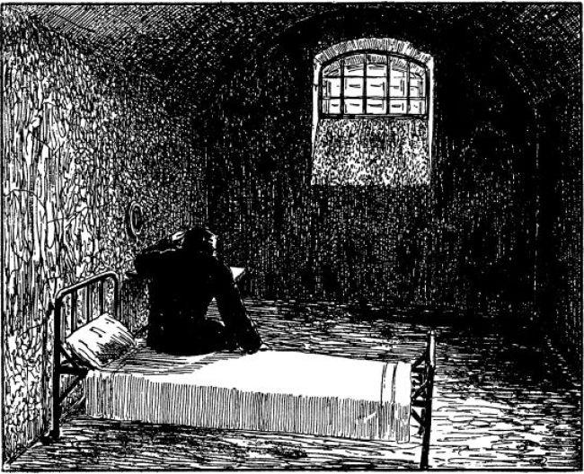Кибальчич, заключенный в крепости, незадолго до казни изложил свой проект ракетной летательной машины. Рисунок из книги Перельмана