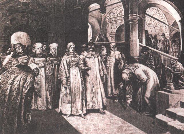 Василий III вводит во дворец свою жену Елену Глинскую