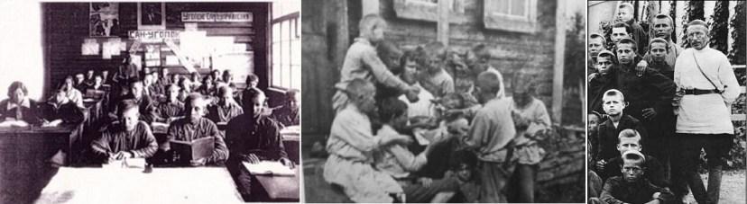 Советские педагоги-экспериментаторы Толстов, Шацкий и Макаренко среди воспитанников