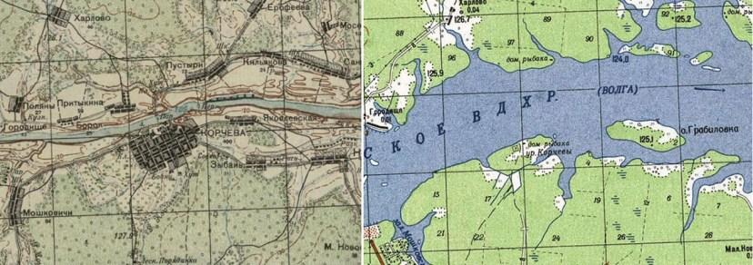 Город Корчева (слева) и все, что от него осталось после появления Иваньковского водохранилища (справа)